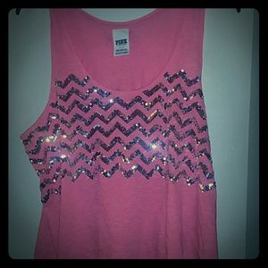 PINK from Victoria's Secret cropped sequined tank